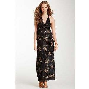 NWT What Goes Around Silk Bardot Halter Maxi Dress